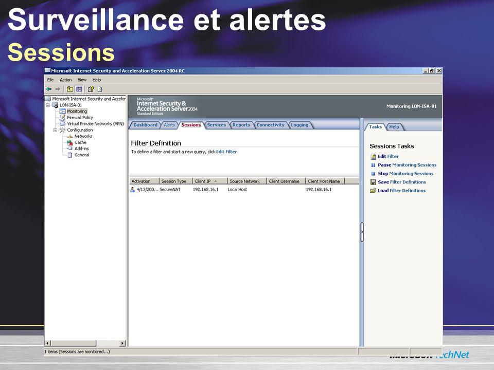 Surveillance et alertes Sessions