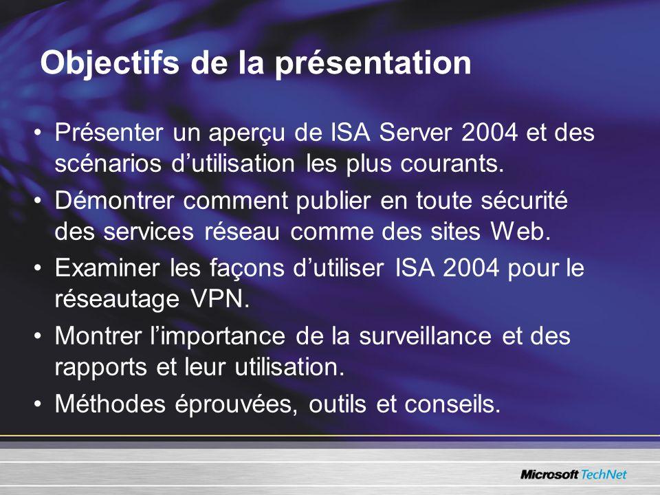 Présenter un aperçu de ISA Server 2004 et des scénarios dutilisation les plus courants. Démontrer comment publier en toute sécurité des services résea