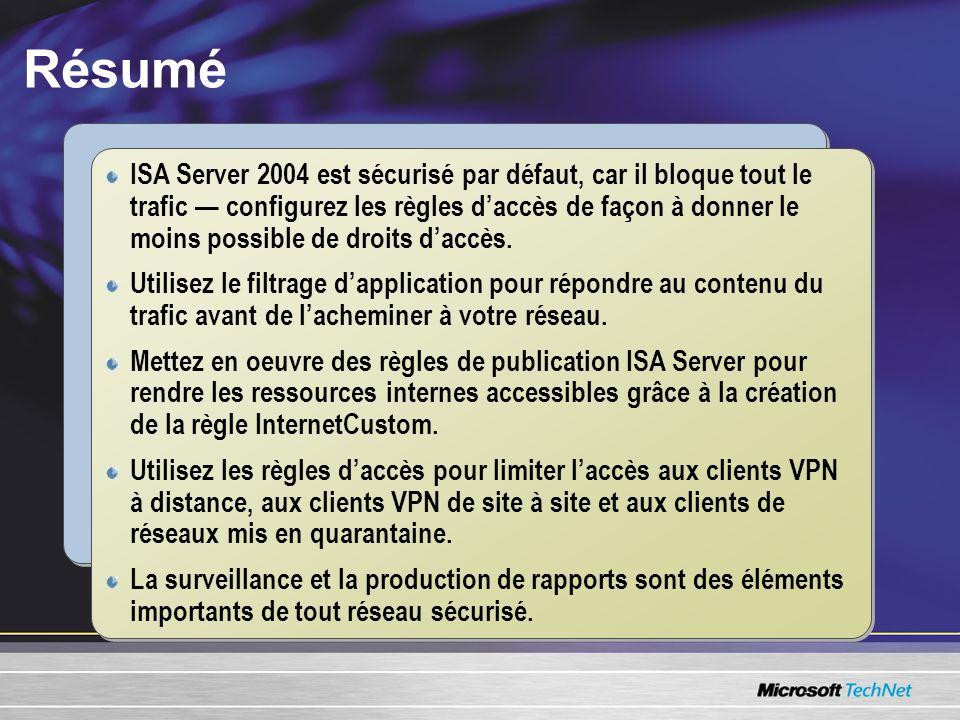Résumé ISA Server 2004 est sécurisé par défaut, car il bloque tout le trafic configurez les règles daccès de façon à donner le moins possible de droit