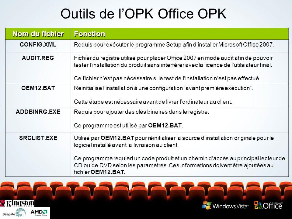 Outils de lOPK Office OPK Nom du fichier Fonction CONFIG.XMLRequis pour exécuter le programme Setup afin dinstaller Microsoft Office 2007. AUDIT.REGFi