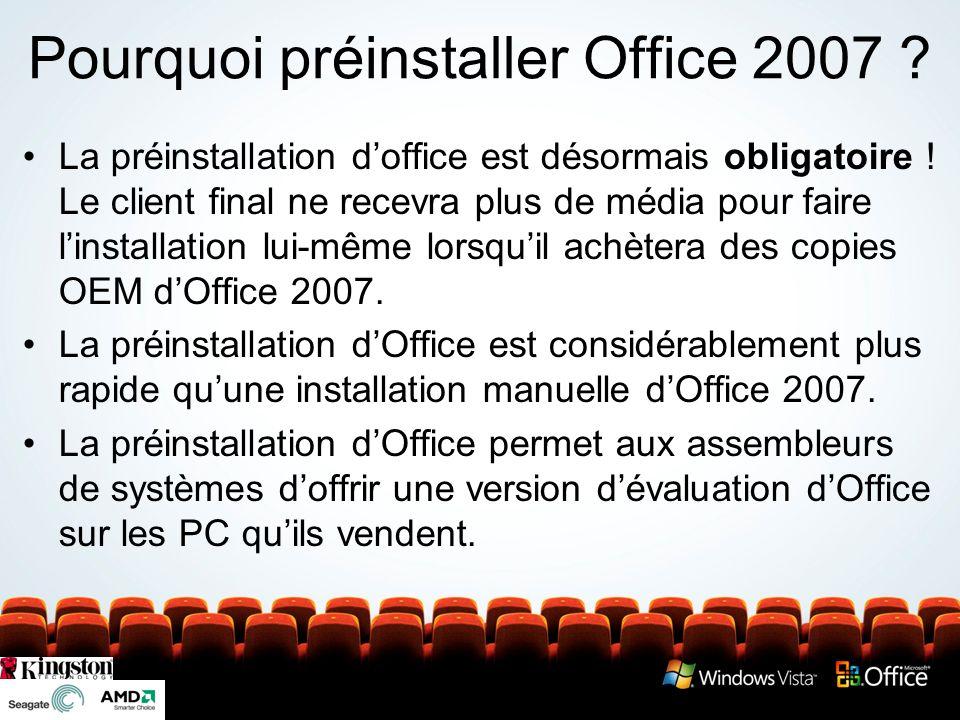 Pourquoi préinstaller Office 2007 ? La préinstallation doffice est désormais obligatoire ! Le client final ne recevra plus de média pour faire linstal