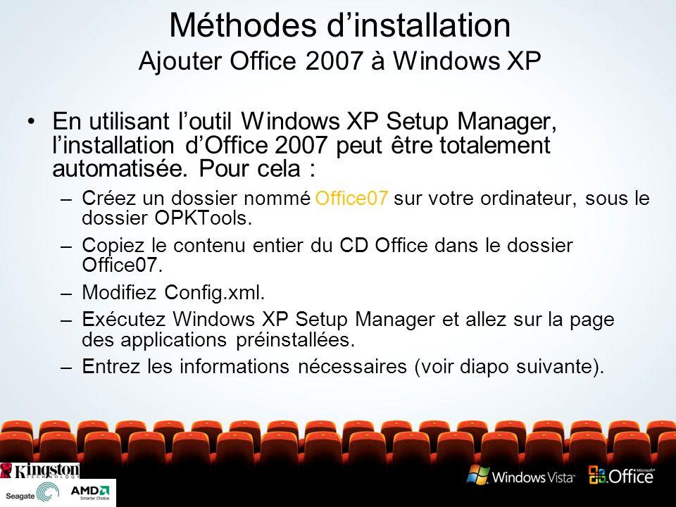 Utilisation de Setup Manager pour préinstaller Office
