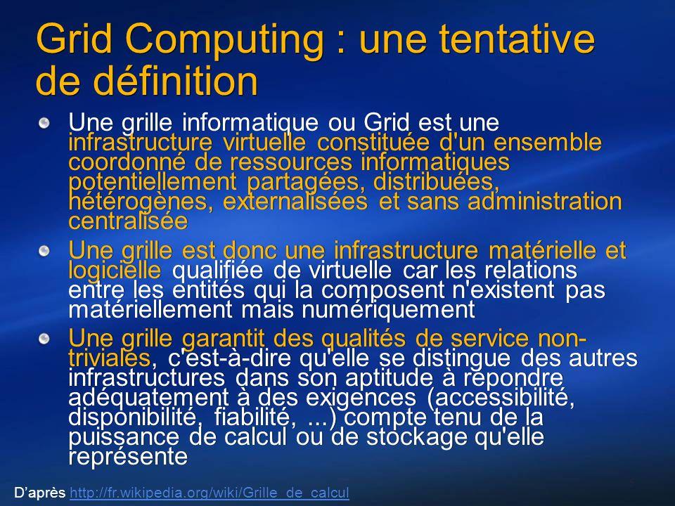 Grid Computing : une tentative de définition Une grille informatique ou Grid est une infrastructure virtuelle constituée d un ensemble coordonné de ressources informatiques potentiellement partagées, distribuées, hétérogènes, externalisées et sans administration centralisée Une grille est donc une infrastructure matérielle et logicielle qualifiée de virtuelle car les relations entre les entités qui la composent n existent pas matériellement mais numériquement Une grille garantit des qualités de service non- triviales, c est-à-dire qu elle se distingue des autres infrastructures dans son aptitude à répondre adéquatement à des exigences (accessibilité, disponibilité, fiabilité,...) compte tenu de la puissance de calcul ou de stockage qu elle représente Une grille informatique ou Grid est une infrastructure virtuelle constituée d un ensemble coordonné de ressources informatiques potentiellement partagées, distribuées, hétérogènes, externalisées et sans administration centralisée Une grille est donc une infrastructure matérielle et logicielle qualifiée de virtuelle car les relations entre les entités qui la composent n existent pas matériellement mais numériquement Une grille garantit des qualités de service non- triviales, c est-à-dire qu elle se distingue des autres infrastructures dans son aptitude à répondre adéquatement à des exigences (accessibilité, disponibilité, fiabilité,...) compte tenu de la puissance de calcul ou de stockage qu elle représente 5 Daprès http://fr.wikipedia.org/wiki/Grille_de_calculhttp://fr.wikipedia.org/wiki/Grille_de_calcul