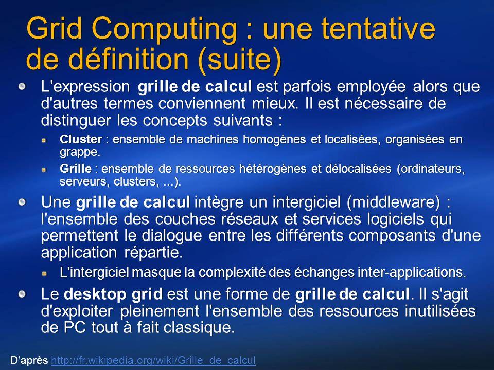Grid Computing : une tentative de définition (suite) L expression grille de calcul est parfois employée alors que d autres termes conviennent mieux.