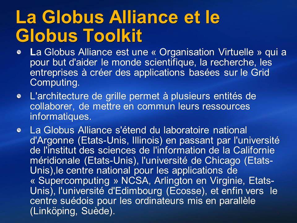 La Globus Alliance et le Globus Toolkit La Globus Alliance est une « Organisation Virtuelle » qui a pour but d aider le monde scientifique, la recherche, les entreprises à créer des applications basées sur le Grid Computing.