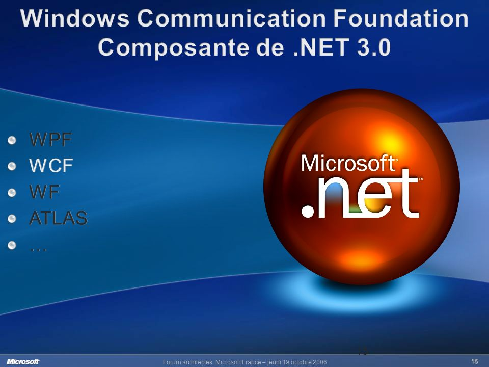 Forum architectes, Microsoft France – jeudi 19 octobre 2006 15 15 WPF WCF WF ATLAS … WPF WCF WF ATLAS …