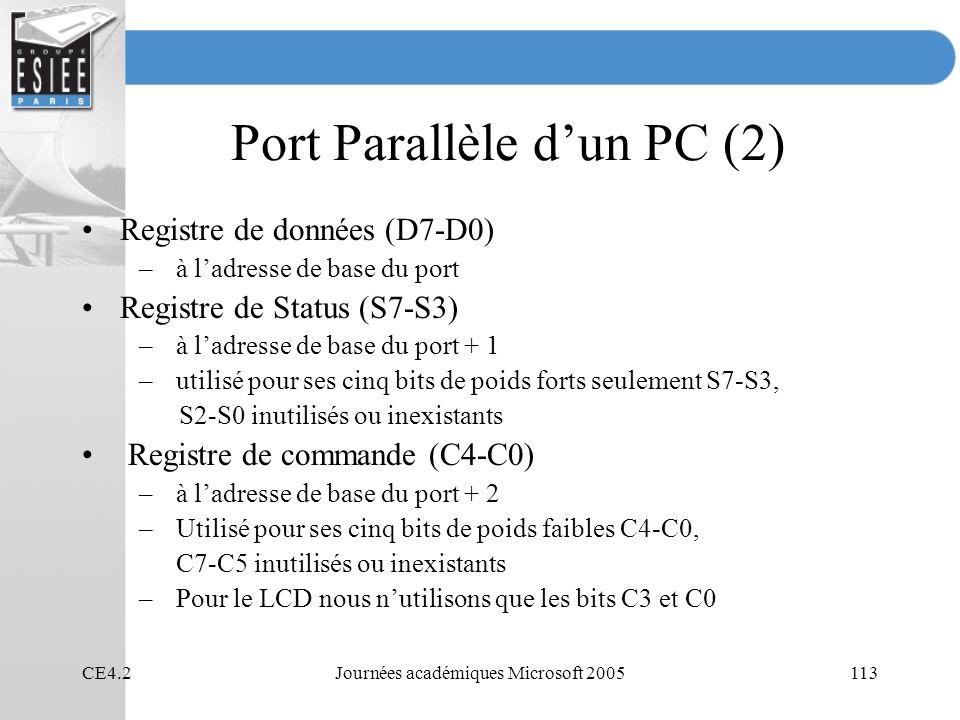 CE4.2Journées académiques Microsoft 2005113 Port Parallèle dun PC (2) Registre de données (D7-D0) –à ladresse de base du port Registre de Status (S7-S3) –à ladresse de base du port + 1 –utilisé pour ses cinq bits de poids forts seulement S7-S3, S2-S0 inutilisés ou inexistants Registre de commande (C4-C0) –à ladresse de base du port + 2 –Utilisé pour ses cinq bits de poids faibles C4-C0, C7-C5 inutilisés ou inexistants –Pour le LCD nous nutilisons que les bits C3 et C0