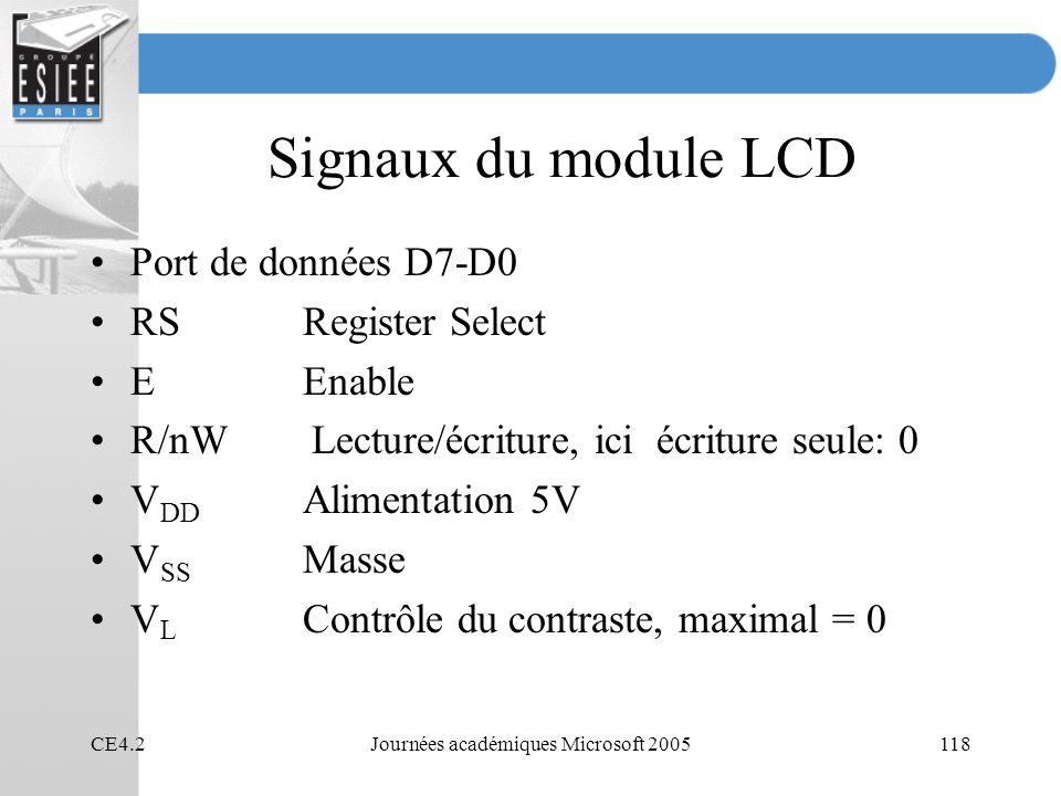 CE4.2Journées académiques Microsoft 2005118 Signaux du module LCD Port de données D7-D0 RSRegister Select EEnable R/nW Lecture/écriture, ici écriture seule: 0 V DD Alimentation 5V V SS Masse V L Contrôle du contraste, maximal = 0