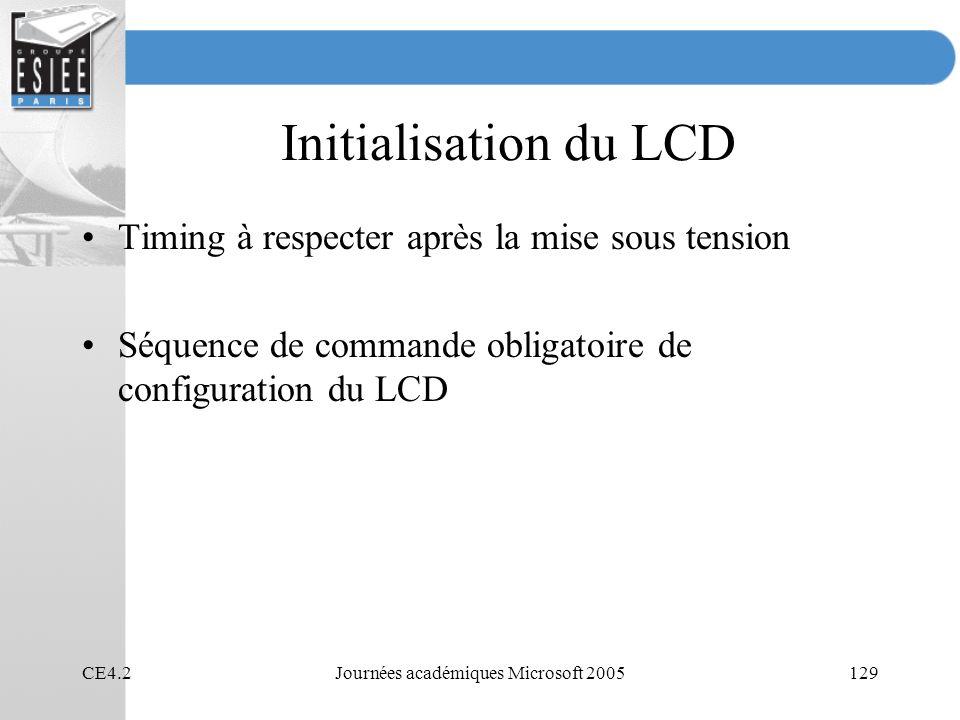 CE4.2Journées académiques Microsoft 2005129 Initialisation du LCD Timing à respecter après la mise sous tension Séquence de commande obligatoire de configuration du LCD