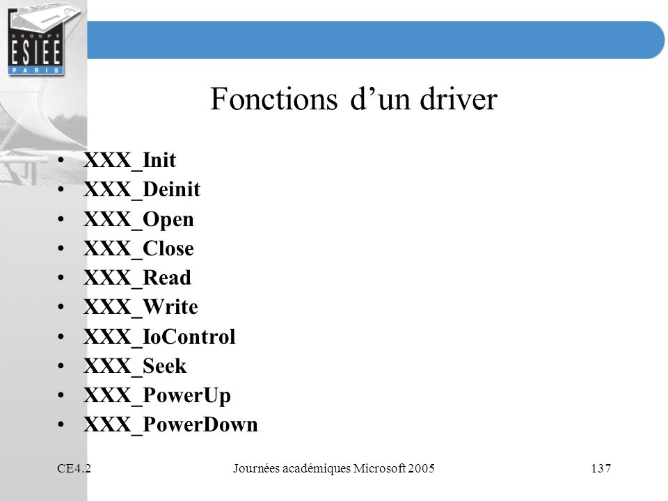 CE4.2Journées académiques Microsoft 2005137 Fonctions dun driver XXX_Init XXX_Deinit XXX_Open XXX_Close XXX_Read XXX_Write XXX_IoControl XXX_Seek XXX_PowerUp XXX_PowerDown