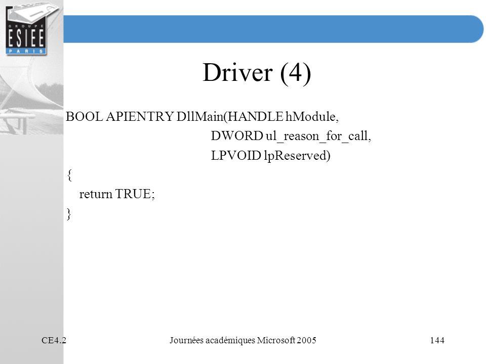 CE4.2Journées académiques Microsoft 2005144 Driver (4) BOOL APIENTRY DllMain(HANDLE hModule, DWORD ul_reason_for_call, LPVOID lpReserved) { return TRUE; }
