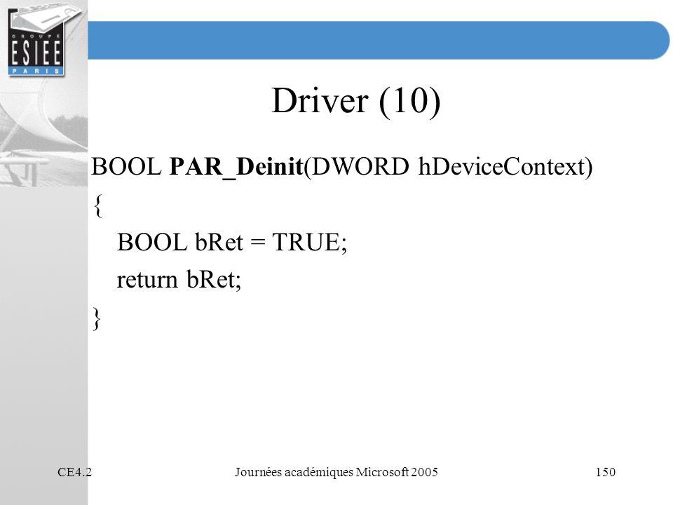 CE4.2Journées académiques Microsoft 2005150 Driver (10) BOOL PAR_Deinit(DWORD hDeviceContext) { BOOL bRet = TRUE; return bRet; }