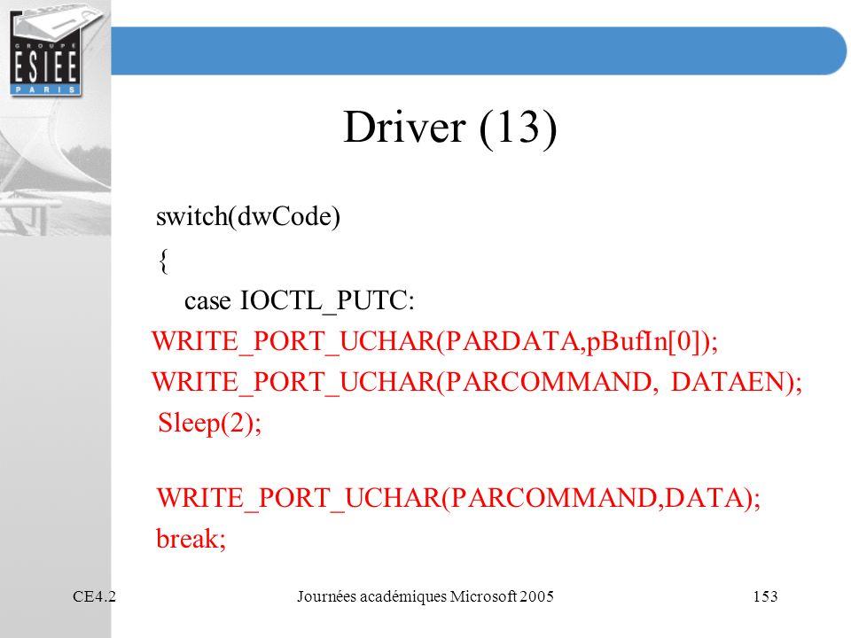 CE4.2Journées académiques Microsoft 2005153 Driver (13) switch(dwCode) { case IOCTL_PUTC: WRITE_PORT_UCHAR(PARDATA,pBufIn[0]); WRITE_PORT_UCHAR(PARCOMMAND, DATAEN); Sleep(2); WRITE_PORT_UCHAR(PARCOMMAND,DATA); break;