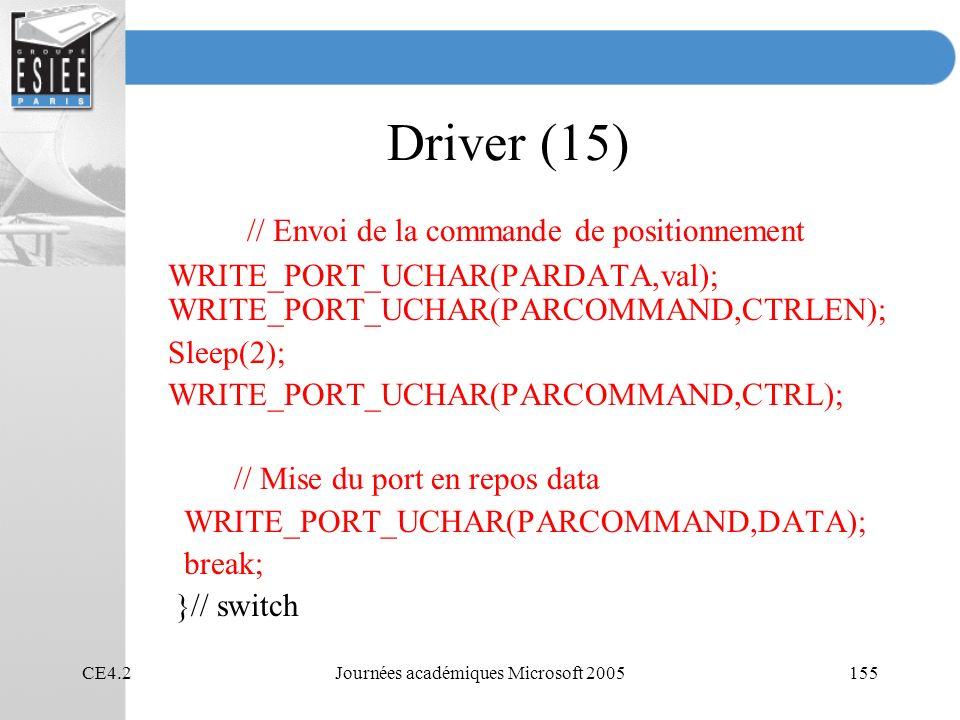 CE4.2Journées académiques Microsoft 2005155 Driver (15) // Envoi de la commande de positionnement WRITE_PORT_UCHAR(PARDATA,val); WRITE_PORT_UCHAR(PARCOMMAND,CTRLEN); Sleep(2); WRITE_PORT_UCHAR(PARCOMMAND,CTRL); // Mise du port en repos data WRITE_PORT_UCHAR(PARCOMMAND,DATA); break; }// switch