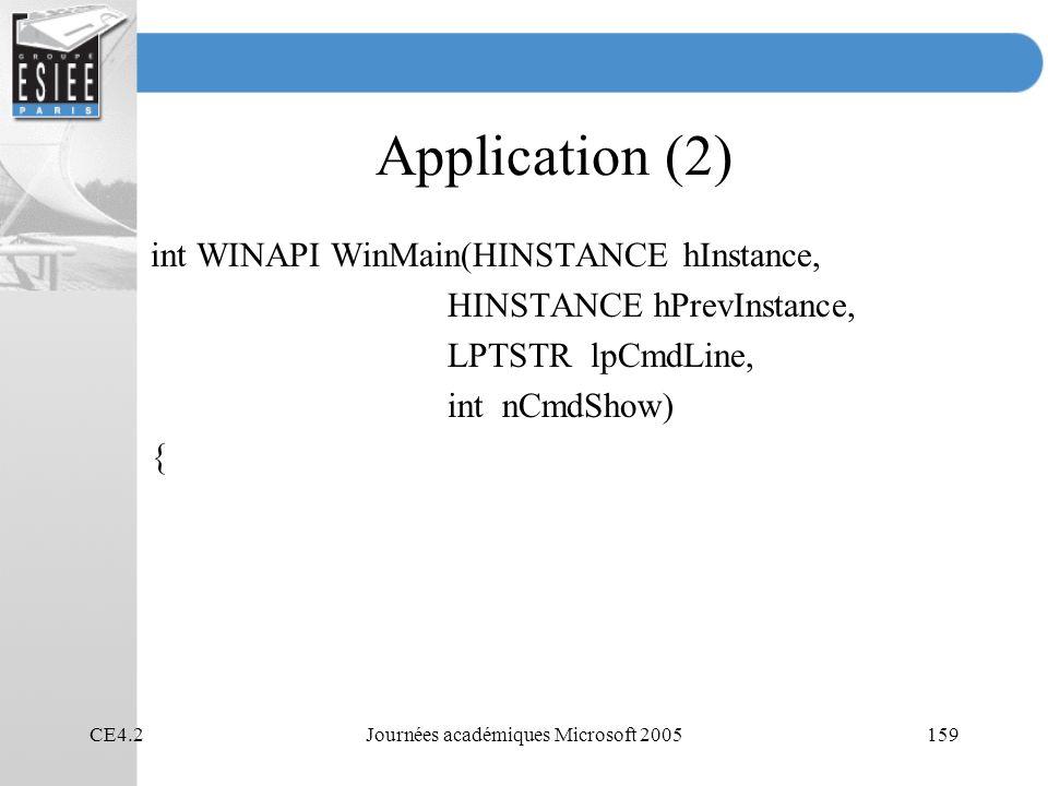 CE4.2Journées académiques Microsoft 2005159 Application (2) int WINAPI WinMain(HINSTANCE hInstance, HINSTANCE hPrevInstance, LPTSTR lpCmdLine, int nCm