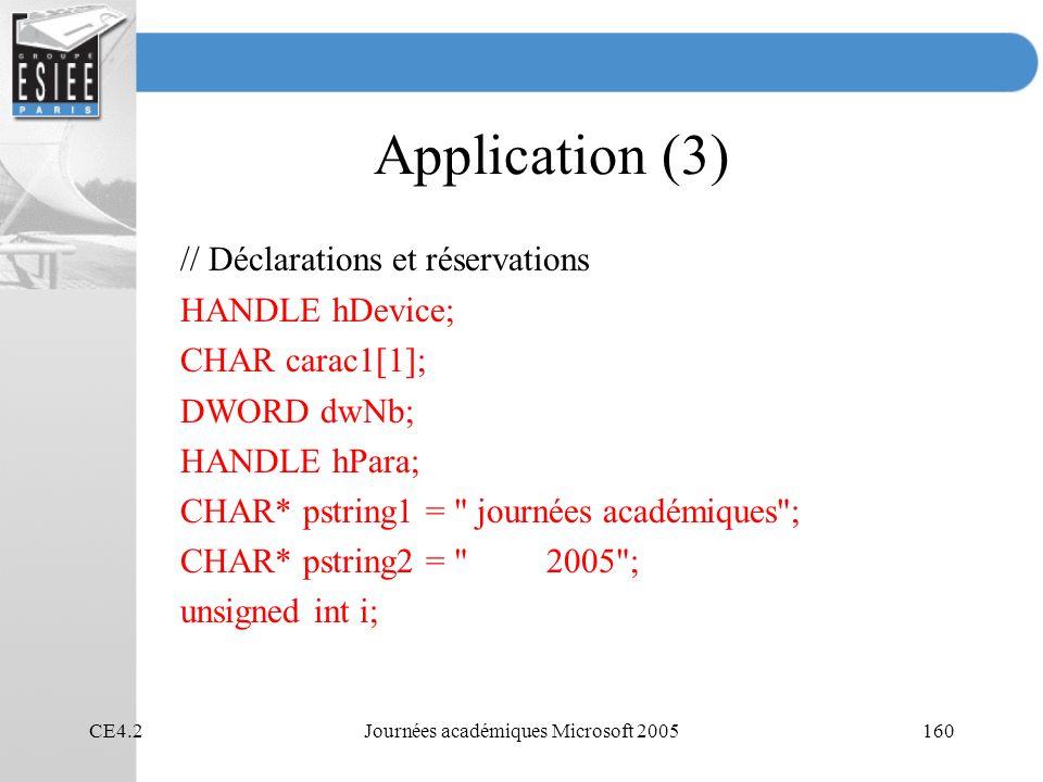 CE4.2Journées académiques Microsoft 2005160 Application (3) // Déclarations et réservations HANDLE hDevice; CHAR carac1[1]; DWORD dwNb; HANDLE hPara; CHAR* pstring1 = journées académiques ; CHAR* pstring2 = 2005 ; unsigned int i;