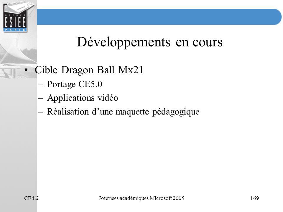 CE4.2Journées académiques Microsoft 2005169 Développements en cours Cible Dragon Ball Mx21 –Portage CE5.0 –Applications vidéo –Réalisation dune maquet