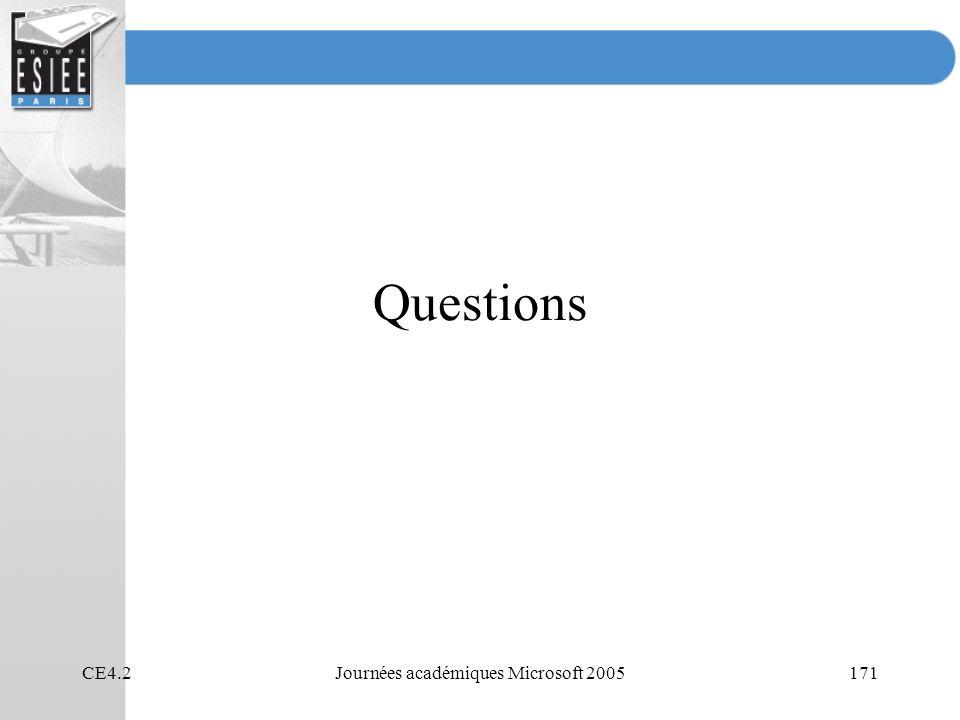 CE4.2Journées académiques Microsoft 2005171 Questions