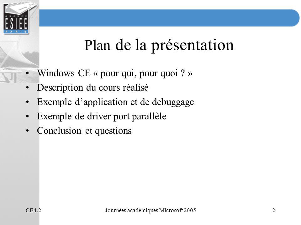 CE4.2Journées académiques Microsoft 20053 Windows CE Interface classique de Windows Système dexploitation modulaire et compact Nest pas un sous ensemble de NT ou XP Système réécrit entièrement pour optimiser la taille et la performance Répond à plus de 90% des applications temps réel Environnement de développement performant Adaptable à de nombreux processeurs