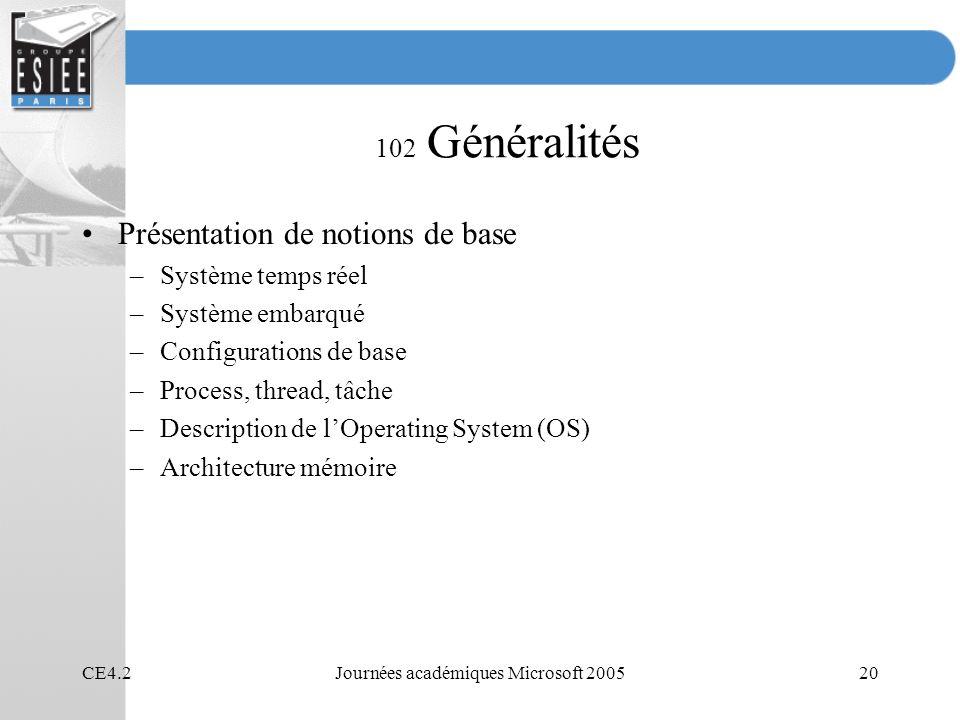 CE4.2Journées académiques Microsoft 200520 102 Généralités Présentation de notions de base –Système temps réel –Système embarqué –Configurations de base –Process, thread, tâche –Description de lOperating System (OS) –Architecture mémoire