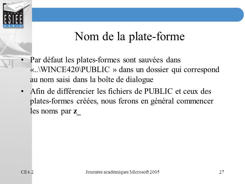 CE4.2Journées académiques Microsoft 200527 Nom de la plate-forme Par défaut les plates-formes sont sauvées dans «..\WINCE420\PUBLIC » dans un dossier
