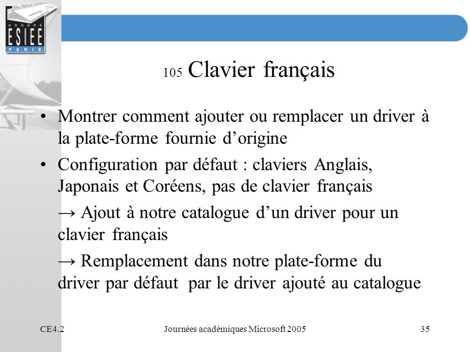 CE4.2Journées académiques Microsoft 200535 105 Clavier français Montrer comment ajouter ou remplacer un driver à la plate-forme fournie dorigine Confi