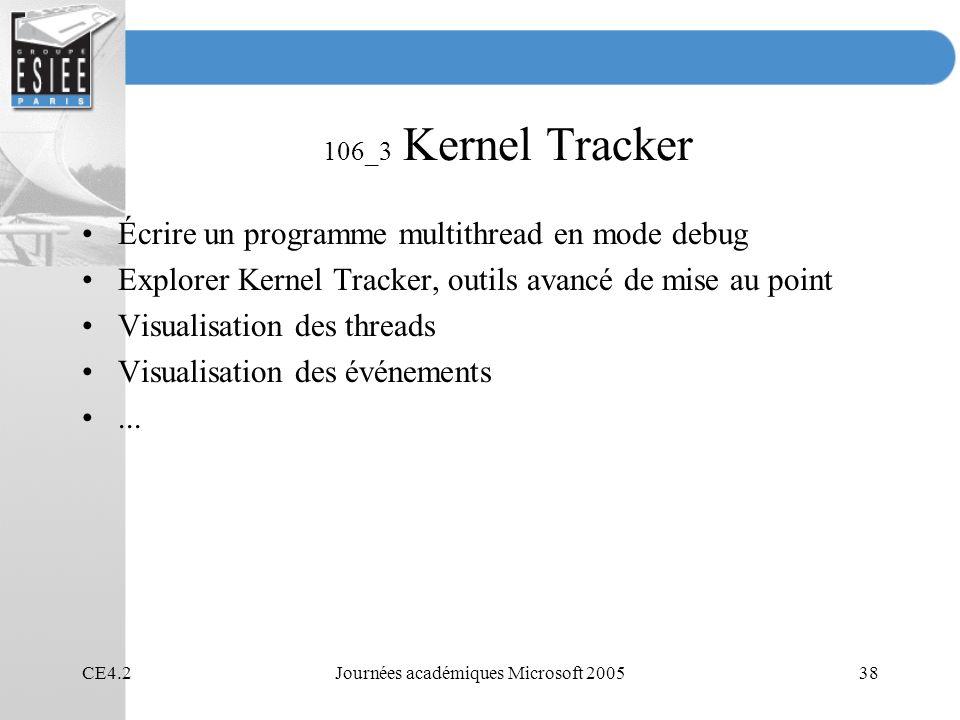 CE4.2Journées académiques Microsoft 200538 106_3 Kernel Tracker Écrire un programme multithread en mode debug Explorer Kernel Tracker, outils avancé de mise au point Visualisation des threads Visualisation des événements...