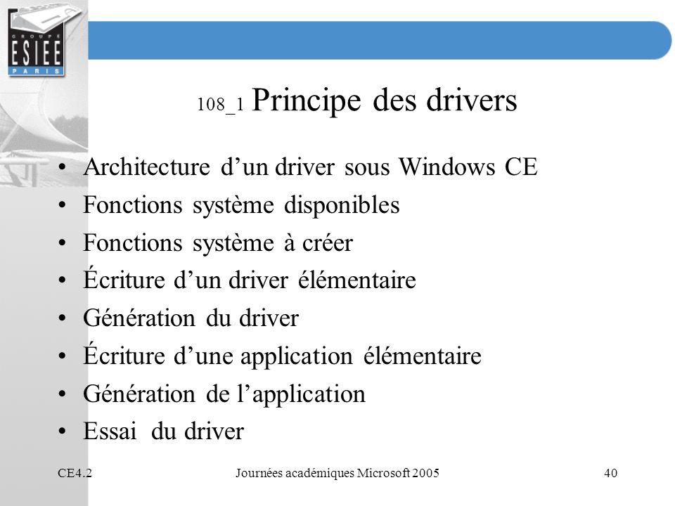CE4.2Journées académiques Microsoft 200540 108_1 Principe des drivers Architecture dun driver sous Windows CE Fonctions système disponibles Fonctions