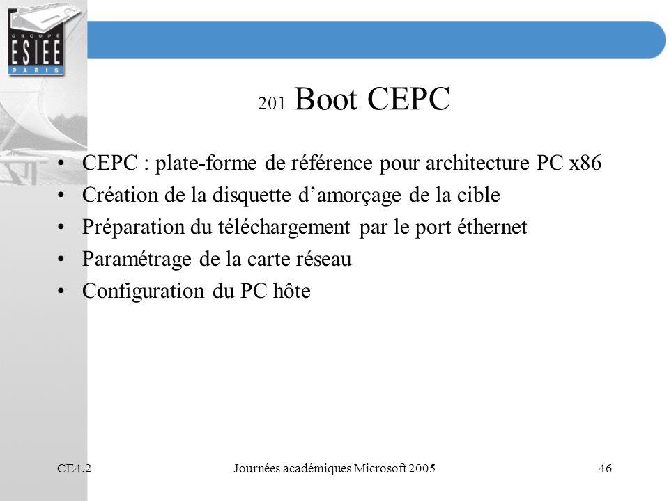 CE4.2Journées académiques Microsoft 200546 201 Boot CEPC CEPC : plate-forme de référence pour architecture PC x86 Création de la disquette damorçage de la cible Préparation du téléchargement par le port éthernet Paramétrage de la carte réseau Configuration du PC hôte
