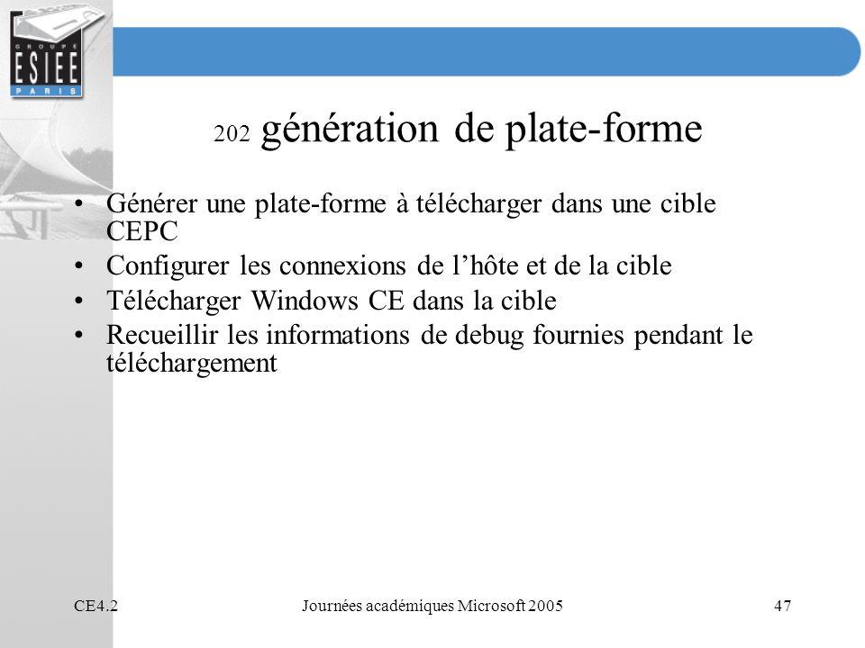 CE4.2Journées académiques Microsoft 200547 202 génération de plate-forme Générer une plate-forme à télécharger dans une cible CEPC Configurer les connexions de lhôte et de la cible Télécharger Windows CE dans la cible Recueillir les informations de debug fournies pendant le téléchargement
