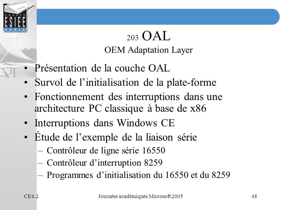 CE4.2Journées académiques Microsoft 200548 203 OAL OEM Adaptation Layer Présentation de la couche OAL Survol de linitialisation de la plate-forme Fonc