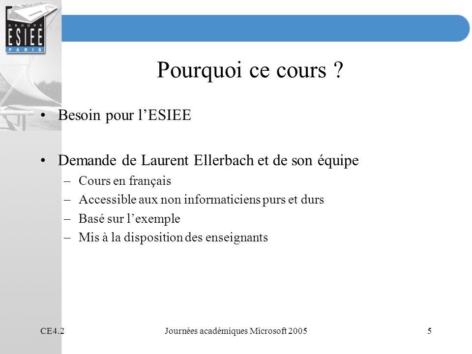 CE4.2Journées académiques Microsoft 20055 Pourquoi ce cours ? Besoin pour lESIEE Demande de Laurent Ellerbach et de son équipe –Cours en français –Acc