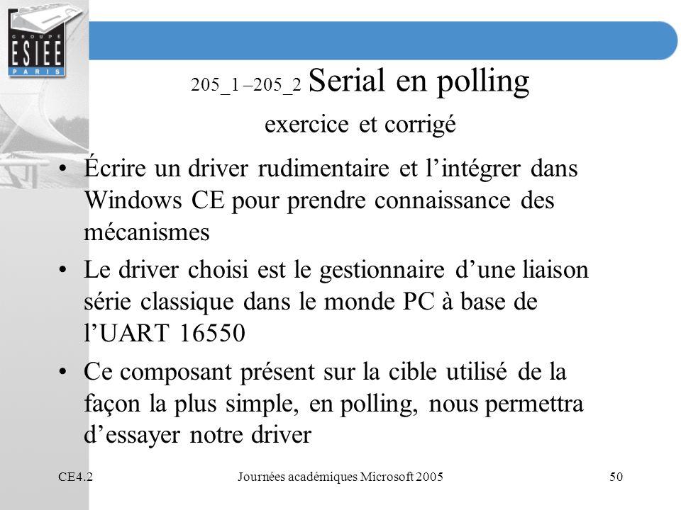 CE4.2Journées académiques Microsoft 200550 205_1 –205_2 Serial en polling exercice et corrigé Écrire un driver rudimentaire et lintégrer dans Windows