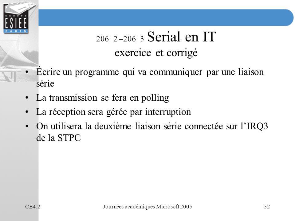 CE4.2Journées académiques Microsoft 200552 206_2 –206_3 Serial en IT exercice et corrigé Écrire un programme qui va communiquer par une liaison série