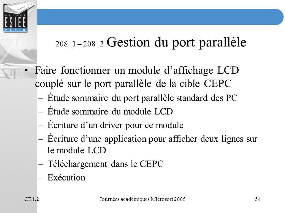 CE4.2Journées académiques Microsoft 200554 208_1 – 208_2 Gestion du port parallèle Faire fonctionner un module daffichage LCD couplé sur le port paral