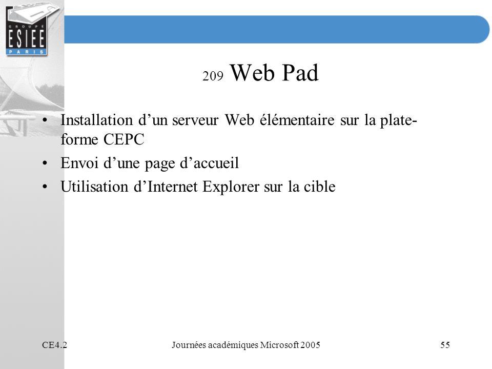 CE4.2Journées académiques Microsoft 200555 209 Web Pad Installation dun serveur Web élémentaire sur la plate- forme CEPC Envoi dune page daccueil Utilisation dInternet Explorer sur la cible