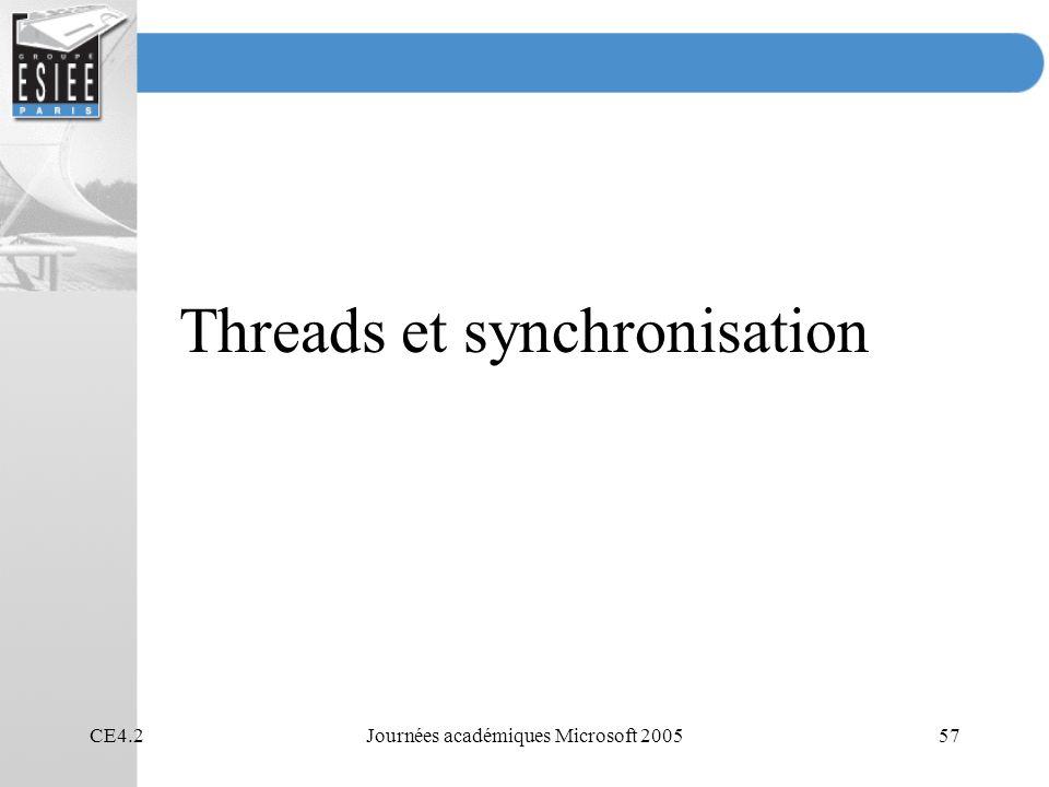 CE4.2Journées académiques Microsoft 200557 Threads et synchronisation