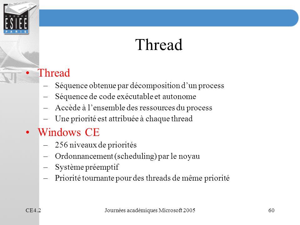 CE4.2Journées académiques Microsoft 200560 Thread –Séquence obtenue par décomposition dun process –Séquence de code exécutable et autonome –Accède à lensemble des ressources du process –Une priorité est attribuée à chaque thread Windows CE –256 niveaux de priorités –Ordonnancement (scheduling) par le noyau –Système préemptif –Priorité tournante pour des threads de même priorité