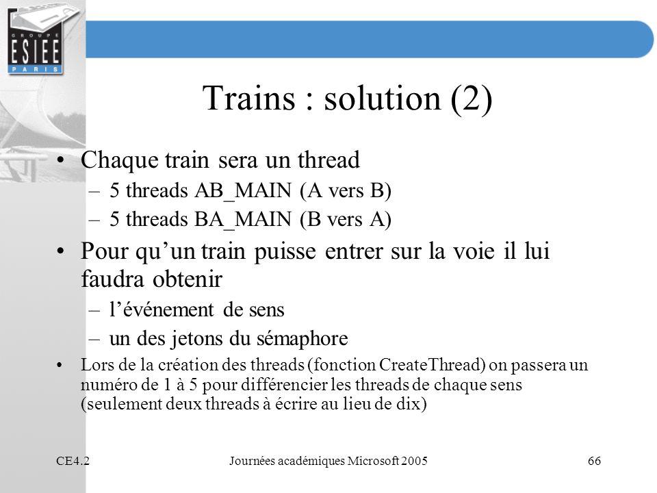 CE4.2Journées académiques Microsoft 200566 Trains : solution (2) Chaque train sera un thread –5 threads AB_MAIN (A vers B) –5 threads BA_MAIN (B vers A) Pour quun train puisse entrer sur la voie il lui faudra obtenir –lévénement de sens –un des jetons du sémaphore Lors de la création des threads (fonction CreateThread) on passera un numéro de 1 à 5 pour différencier les threads de chaque sens (seulement deux threads à écrire au lieu de dix)