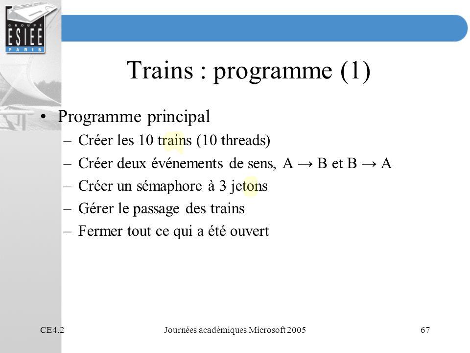 CE4.2Journées académiques Microsoft 200567 Trains : programme (1) Programme principal –Créer les 10 trains (10 threads) –Créer deux événements de sens, A B et B A –Créer un sémaphore à 3 jetons –Gérer le passage des trains –Fermer tout ce qui a été ouvert