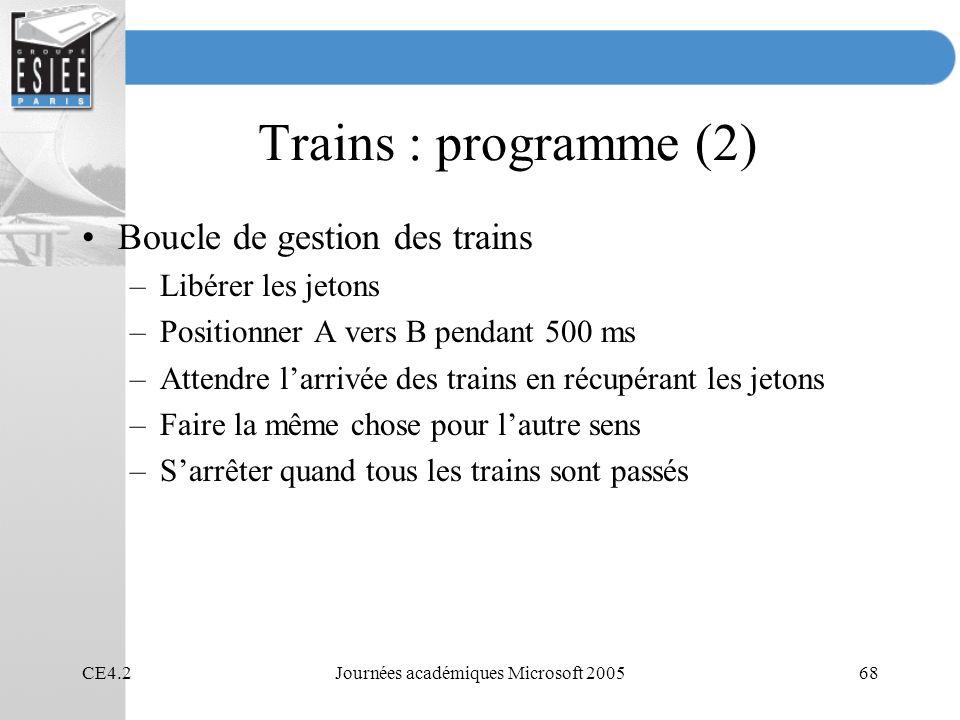 CE4.2Journées académiques Microsoft 200568 Trains : programme (2) Boucle de gestion des trains –Libérer les jetons –Positionner A vers B pendant 500 m