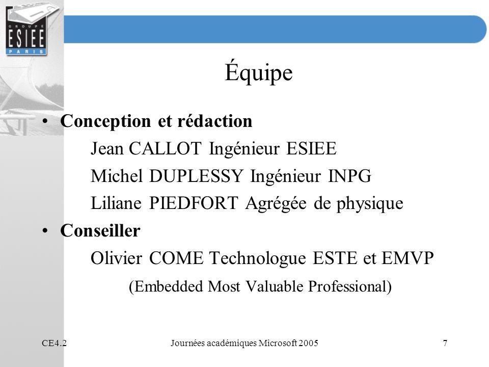 CE4.2Journées académiques Microsoft 200558 Objectif de la présentation Application à un exemple concret des chapitres « Threads » et « Synchronisation » Exemple de débogage avec Kernel Tracker Rappel des notions nécessaires présentées dans des chapitres précédents –Process –Thread –Synchronisation