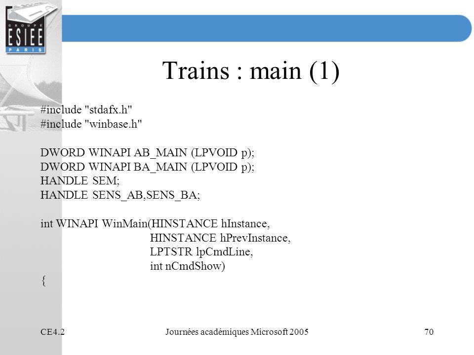 CE4.2Journées académiques Microsoft 200570 Trains : main (1) #include
