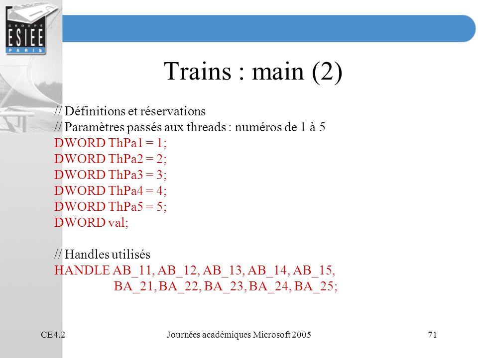 CE4.2Journées académiques Microsoft 200571 Trains : main (2) // Définitions et réservations // Paramètres passés aux threads : numéros de 1 à 5 DWORD ThPa1 = 1; DWORD ThPa2 = 2; DWORD ThPa3 = 3; DWORD ThPa4 = 4; DWORD ThPa5 = 5; DWORD val; // Handles utilisés HANDLE AB_11, AB_12, AB_13, AB_14, AB_15, BA_21, BA_22, BA_23, BA_24, BA_25;