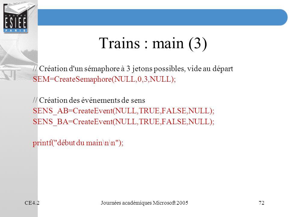 CE4.2Journées académiques Microsoft 200572 Trains : main (3) // Création d un sémaphore à 3 jetons possibles, vide au départ SEM=CreateSemaphore(NULL,0,3,NULL); // Création des événements de sens SENS_AB=CreateEvent(NULL,TRUE,FALSE,NULL); SENS_BA=CreateEvent(NULL,TRUE,FALSE,NULL); printf( début du main\n\n );