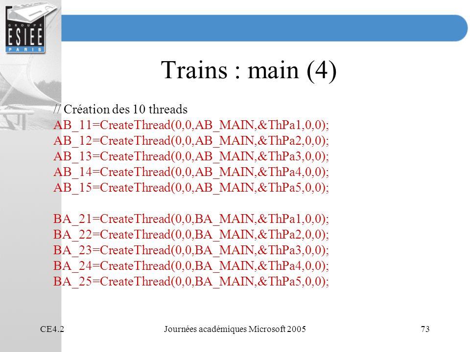 CE4.2Journées académiques Microsoft 200573 Trains : main (4) // Création des 10 threads AB_11=CreateThread(0,0,AB_MAIN,&ThPa1,0,0); AB_12=CreateThread(0,0,AB_MAIN,&ThPa2,0,0); AB_13=CreateThread(0,0,AB_MAIN,&ThPa3,0,0); AB_14=CreateThread(0,0,AB_MAIN,&ThPa4,0,0); AB_15=CreateThread(0,0,AB_MAIN,&ThPa5,0,0); BA_21=CreateThread(0,0,BA_MAIN,&ThPa1,0,0); BA_22=CreateThread(0,0,BA_MAIN,&ThPa2,0,0); BA_23=CreateThread(0,0,BA_MAIN,&ThPa3,0,0); BA_24=CreateThread(0,0,BA_MAIN,&ThPa4,0,0); BA_25=CreateThread(0,0,BA_MAIN,&ThPa5,0,0);