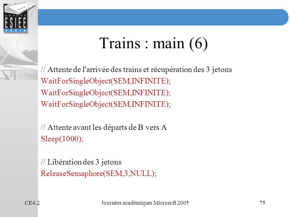 CE4.2Journées académiques Microsoft 200575 Trains : main (6) // Attente de l arrivée des trains et récupération des 3 jetons WaitForSingleObject(SEM,INFINITE); // Attente avant les départs de B vers A Sleep(1000); // Libération des 3 jetons ReleaseSemaphore(SEM,3,NULL);