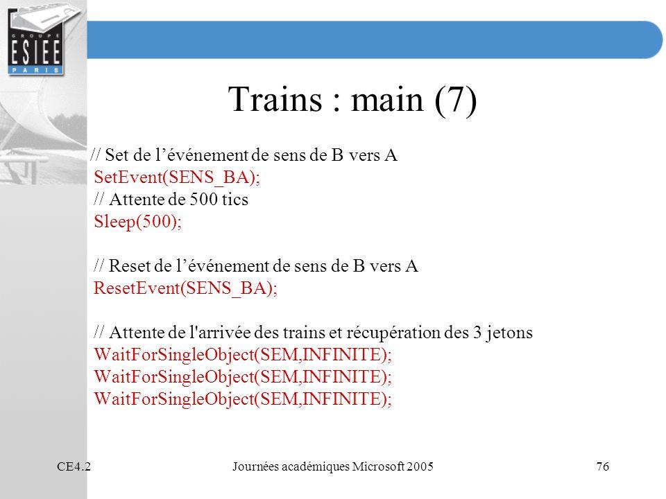 CE4.2Journées académiques Microsoft 200576 Trains : main (7) // Set de lévénement de sens de B vers A SetEvent(SENS_BA); // Attente de 500 tics Sleep(500); // Reset de lévénement de sens de B vers A ResetEvent(SENS_BA); // Attente de l arrivée des trains et récupération des 3 jetons WaitForSingleObject(SEM,INFINITE);
