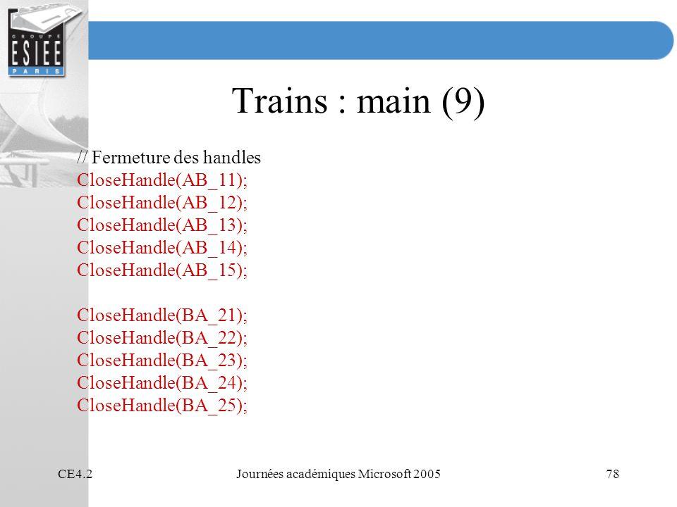 CE4.2Journées académiques Microsoft 200578 Trains : main (9) // Fermeture des handles CloseHandle(AB_11); CloseHandle(AB_12); CloseHandle(AB_13); CloseHandle(AB_14); CloseHandle(AB_15); CloseHandle(BA_21); CloseHandle(BA_22); CloseHandle(BA_23); CloseHandle(BA_24); CloseHandle(BA_25);