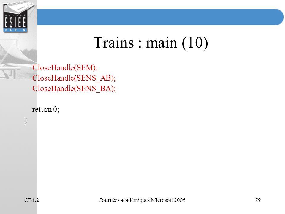 CE4.2Journées académiques Microsoft 200579 Trains : main (10) CloseHandle(SEM); CloseHandle(SENS_AB); CloseHandle(SENS_BA); return 0; }